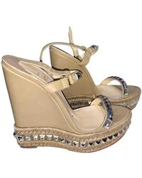 Christian Louboutin Cataclou Beige Leather Sandals - Natural