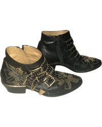 Chloé Ankle Boots Susanna aus Samt - Schwarz