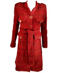 Chanel Red Tweed Coat