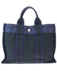 Hermès Herline Leinen Shopper - Blau