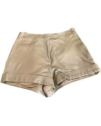 Ferragamo Khaki Leather Shorts - Natural