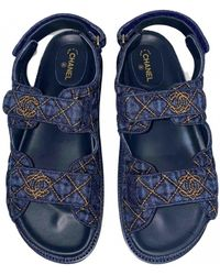 Chanel Dad Sandals Leinen Römersandalen - Blau