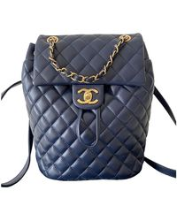 Chanel Timeless/classique Blue Leather Backpacks