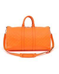 Louis Vuitton Keepall Orange Leather Bag