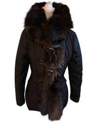 Moncler - Fur Hood Black Polyester Coats - Lyst