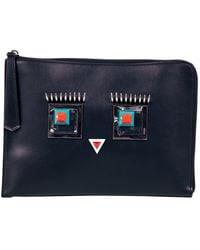 Fendi Triplette Black Leather Clutch Bag
