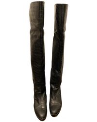 Manolo Blahnik Leather Boots - Black