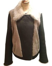 Yves Salomon - Khaki Shearling Leather Jacket - Lyst