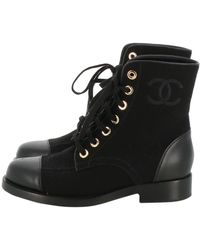 Chanel \n Black Cloth Ankle Boots