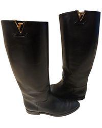 Louis Vuitton Botas en cuero negro Skyline