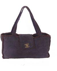 Chanel Navy Suede Handbag - Purple