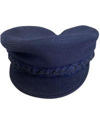 Chanel Wolle Baskenmütze - Blau
