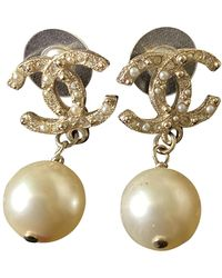 Chanel Boucles d'oreilles CC en perles - Neutre