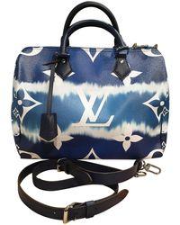 Louis Vuitton Speedy Bandoulière Leinen Handtaschen - Blau