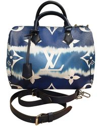 Louis Vuitton Borsa Speedy Bandoulière in Tela - Blu
