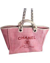 Chanel Borsa a mano in tela rosa Deauville