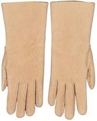 Hermès Beige Shearling Gloves - Natural