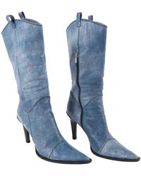 Casadei Leather Ankle Boots - Blue