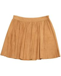 Maje - Camel Leather Skirt - Lyst
