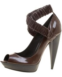 Burberry - Brown Patent Leather - Lyst