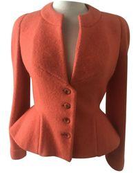 Hervé Léger Wool Short Vest - Orange