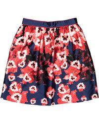 Prabal Gurung Silk Mini Skirt - Red