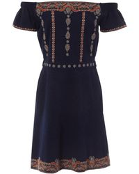Tory Burch - Navy Polyester Dress - Lyst