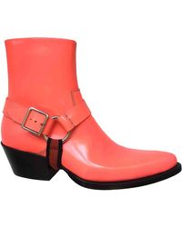 CALVIN KLEIN 205W39NYC Leather Cowboy Boots - Orange