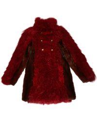 Lanvin - Red Fur Coat - Lyst