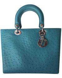 Dior Sac à main Lady en autruche - Bleu