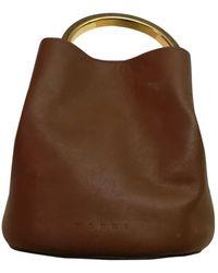 Marni Pannier Leather Handbag - Brown