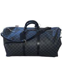 Louis Vuitton Keepall Leinen Wochenende tasche - Blau
