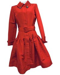 Oscar de la Renta Silk Coat - Red