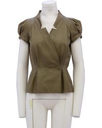 Oscar de la Renta \n Khaki Silk Jacket - Green