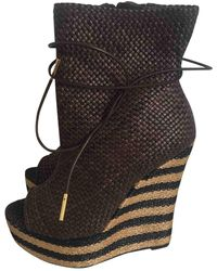 Burberry Leather Ankle Boots - Brown