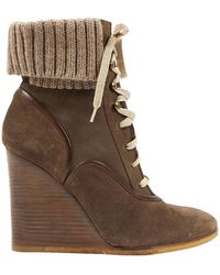 Chloé River Lace Up Boots - Brown