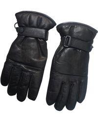 Moncler Black Leather Gloves
