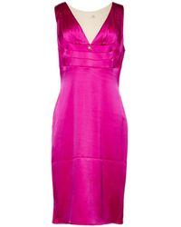 Roberto Cavalli Deep V-neck Floral Dress in Blue - Lyst 09562f704