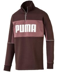 PUMA Retro Quarter Zip Turtleneck Pullover - Brown