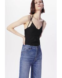 Victoria Beckham Double-layer Cami Top In Black