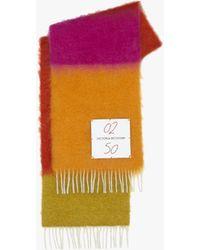 Victoria Beckham Colour-block Scarf In Red-orange Multi - Multicolour