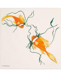 Victoria Beckham Goldfish Print Foulard - Metallic
