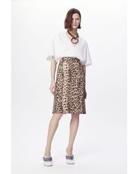 Victoria Beckham Pleat Detail Skirt In Leopard Print - Multicolour