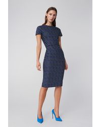Victoria Beckham T-shirt Fitted Dress In Navy Houndstooth - Blue