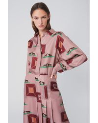 Victoria Beckham Oversized Blouse In Horse Print - Pink