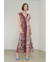 Victoria Beckham - V-neck Cap Sleeve Midi Dress - Lyst