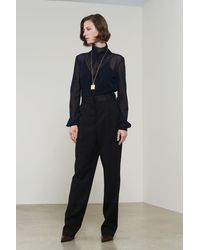 Victoria Beckham Pleat Front Trousers In Black