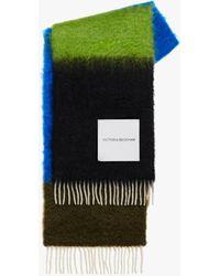 Victoria Beckham Colour-block Scarf In Blue-green Multi
