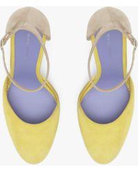Victoria Beckham Catherine Mary Jane Suede 105mm Pump In Lemon - Blue