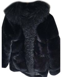 Maje - Manteau en fourrure fausse fourrure noir - Lyst